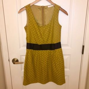 GLAM Mustard Pleated Party Dress